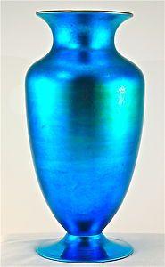 Large Steuben BLUE AURENE Vase by Frederick Carder