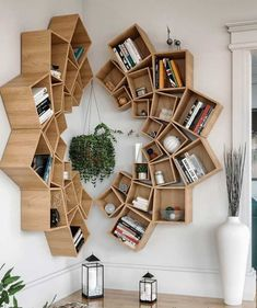 Wood Mandala Bookcase Design ★ When it comes to home decor projects, every single detail plays a crucial role, and bookcase is no exception. Check out the compilation of the latest bookcase arrangements to make your home design perfect. Wood Interior Design, Interior Design Living Room, Living Room Designs, Living Rooms, Contemporary Interior, Kitchen Interior, Room Interior, Living Area, Headboard With Shelves