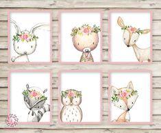 6 Deer Fox Bunny Rabbit Bear Owl Raccoon Boho Wall Art Print Woodland Bohemian Floral Nursery Baby Girl Room Set Lot Prints Printable Decor