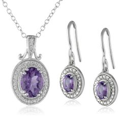 PURPLE CHARM: Sterling Silver Amethyst Earrings and Pendant Necklace Jewelry Set: MORE PURPLE JEWELRY HERE: http://www.pinterest.com/FPdiva/%2B-jewelry-purple/