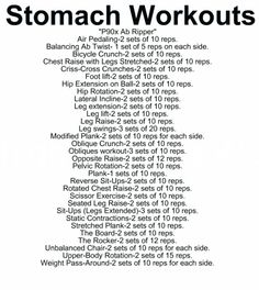Stomach Workouts (all of these exercises were found through pinterest other than the ab ripper which im sure is on here somewhere. to look at the pictures and def. of these exercises go to (www.divine.ca/...)