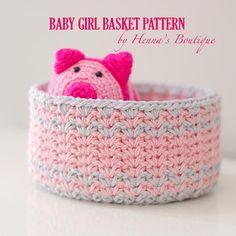 Crochet Basket Pattern - Baby Girl Basket - PDF
