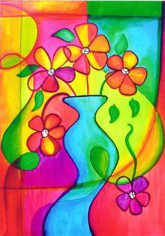 Floral Still Life Flowers Abstract Acrylic Vase  Painting - Pizazz by Robin Mead