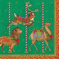 Caspari Merry-Go-Round Green Carousel Animals Theme Printed 3-Ply Paper Luncheon Napkins Wholesale 13341L