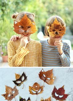 manualidades-de-otono-infantiles-mascaras-hechas-con-hojas-secas Fall Crafts For Kids, Diy And Crafts, Arts And Crafts, Art Lessons For Kids, Art For Kids, Nature Activities, Diy Camping, Creepy Cute, Baby Art