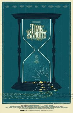 An alternative movie poster for the film Time Bandits, created by Phantom City Creative, featured on AMP Kunst Poster, Poster S, Poster Prints, Art Prints, Superhero Poster, Alternative Movie Posters, Creative Posters, Custom Posters, Hourglass