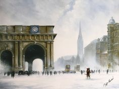Charity Christmas Cards Exclusive Jeff Rowland design Pack of 5 cards x Greeting: Happy Christmas and Best Wishes for the New Year Pop Art Studio, Charity Christmas Cards, Rainy City, Rain Photo, City Landscape, Art Techniques, Artist Art, Beautiful Paintings, Big Ben