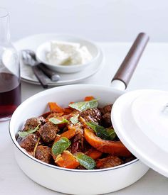 Australian Gourmet Traveller quick recipe for lamb keftethes with pumpkin and feta.