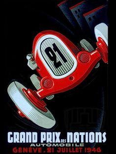 Grand Prix Car Red Fashion #21 Race 1946 Nations Vintage Poster Repro FREE SH #Vintage