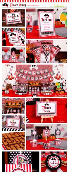 ••• Pirate Ahoy Birthday Party Theme •••  Shop Them Here:  https://www.etsy.com/shop/LeeLaaLoo/search?search_query=b87&order=date_desc&view_type=gallery&ref=shop_search  ♥♥♥ Vendor Credits:  ♥ Party Styling: LeeLaaLoo - www.leelaaloo.com  ♥ Party Printable Design & Decoration: LeeLaaLoo - www.etsy.com/shop/leelaaloo  Our YouTube channel for some DIY tutorials here: http://www.youtube.com/leelaaloopartyideas