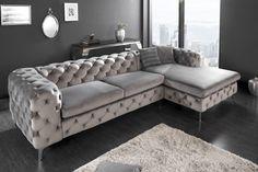 Luxusná dizajn rohová sedačka 275cm. Living Room Sofa Design, Living Room Decor, Chesterfield Couch, Sofa Couch, Home Decor Accessories, Furniture, England, Living Room Ideas, Sofa Design