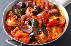 150 calories/10g fat per portionBig chunks of vegetables in a rich tomato sauce, ratatouille is more than filling enough to count as full meal. This healthy recipe is made with courgette, aubergines and bell peppers - which along with the chopped tomatoes, count towards your 5-a-day! Get the recipe: Roasted ratatouille