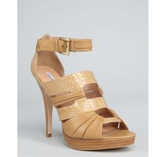 warm honey snake embossed leather 'Marianne' strappy platform heels