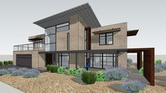 modern desert house with landscape - 3D Warehouse
