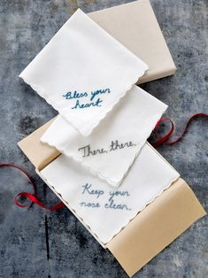 Lend bespoke charm to basic cotton hankies for witty embroidered handkerchief gifts.