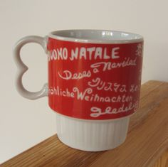 Vintage Multilingual Christmas Mug by lookonmytreasures on Etsy