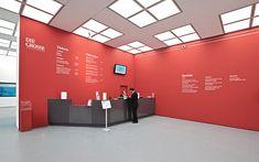 "Visual identity and exhibition design for ""DIE GROSSE Kunstausstellung NRW 2013 in Düsseldorf, Germany.Photography by Dominik Heidl."