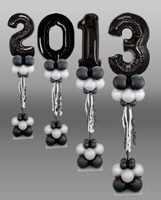 Números de globos metalizados para decorar fiesta de grado. #FiestaDeGrado
