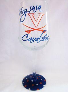Hand Painted  UVA Virginia Cavaliers Wine Glass. $20.00, via Etsy.