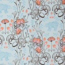 Cruise Blue Bear and Flowers Slubbed Cotton Voile