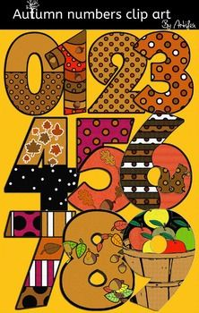 FREE - Autumn numbers clip art