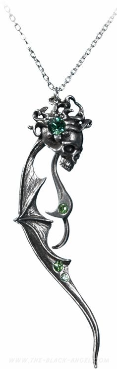 Large pendant and necklace by Alchemy Gothic, winged skull with Swarovski crystals.