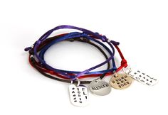 hand stamped silky cord bracelets