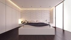 chambre claire avec rangements muraux intégrés, panneau mural décoratif et sol en parquet foncé