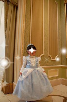 #Cinderella #dress #girl    #Disney #princess  シンデレラ風のドレス。ディズニーランドに遊びに行くときに縫いました。
