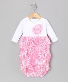 Caught Ya Lookin' White & Pink Rosette Gown - Infant by Caught Ya Lookin' #zulily #zulilyfinds