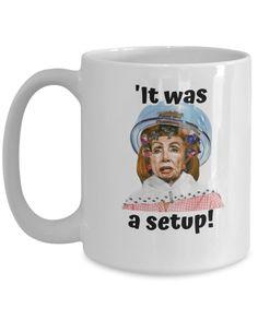 Nancy Pelosi under hair dryer political satire mug, funny political mug, political humor, gag gift, republican gifts Funny Coffee Mugs, Coffee Humor, My Coffee, Nurse Gifts, Gag Gifts, Gifts For Veterans, Employee Gifts, Political Satire, Mugs For Men