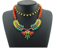 Our Brazilian inspired 'Birds of Paradise' necklace in tangerine www.my-boutique.com.au