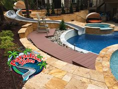 Anyone up for a Stay-cation?! Why go anywhere else when you have literally an Oasis in your backyard with a Paradise Slides, Inc. #ResidentialWaterSlide model PS38L-C in Platinum! Great Job @byopools It looks Amazing! Water Slides, Pool Slides, Can Design, Staycation, Oasis, Swimming Pools, Paradise, Backyard, Amazing