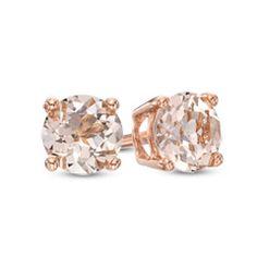 5.0mm Morganite Stud Earrings in 10K Rose Gold