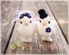 No 1 - Crochet bird wedding cake topper - Crochet bride and groom birds - Wedding cake topper - Love birds on Etsy, $30.00