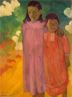 """Paul Gauguin. """"Piti Teina. (Two Sisters)."""" 1892. Oil on canvas. Collection of Otto Krebs, Holzdorf. Now in the Hermitage, St. Petersburg, Russia"""