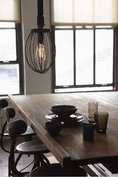 Sweet Paul made this pendant lamp from an old whisk he found at a flea market. Simple and stunning!
