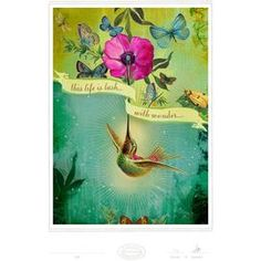 Archival-quality giclee print with the date and artist�s signature. Features a bright flower and hummingbird.   Product: Wall artConstruction Material: Archival matte gicleeFeatures:  Original art by Jen RenningerPrint comes unframedSigned and dated by artistX-Large size is a limited edition of 10 Dimensions: Small: 10 H x 8 WMedium: 14 H x 11 WLarge: 19 H x 13 WX-Large: 24 H x 20 WNote: Artist biography includedCleaning and Care: Keep out of direct sunlight