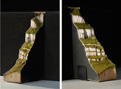 Artist Guy Laramee carves secondhand books into extraordinary mountain landscapes. #art #sculpture
