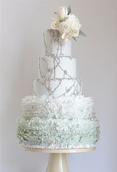 Country Wedding Cakes A pale frosty blue winter wedding cake.- I like the jewels strewn across the top. - These unique ideas take the cake. Beautiful Wedding Cakes, Gorgeous Cakes, Pretty Cakes, Amazing Cakes, Whimsical Wedding, Blue Wedding, Dream Wedding, Glitter Wedding, Winter Wonderland Wedding