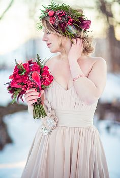 Brides: The Prettiest Wedding Hairstyles with Flower Crowns| A Rustic Green and Red Flower Crown for a Winter Wedding | Photo by Just For You