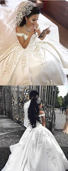 Vintage Beaded Lace Embroidery V-neck Satin Ball Gowns Wedding Dresses For Women
