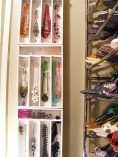 Necklace organizer. Great use of cutlery trays!