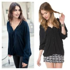 Brandy Melville Estelle black button down shirt Wide V neck collar in back and front. Sexy oversize fit. Sleeve tabs to wear sleeves rolled or down. Brandy is a one size brand. This best fits XS-M Brandy Melville Tops Button Down Shirts