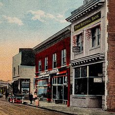 Old postcard of Lombard St. in St. Johns. The First National Bank building is the James John Cafe!  #jamesjohncafe #lombardst #stjohns #nopo
