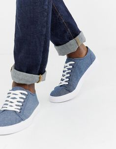 a6638df680 ASOS DESIGN sneakers in blue chambray Asos Men