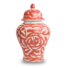 Blooming Rose (Pink) Ceramic Cremation Urn - Large - Holds Up To 200 Cubic Inches of Ashes - Red Ceramic Urns - Engraving Sold Separately Blooming Rose, Cremation Urns, Ceramic Materials, Porcelain Ceramics, Kind Words, White Roses, Biodegradable Products, Coral, Shapes
