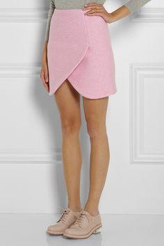 CarvenWrap-effect wool-blend mini skirt