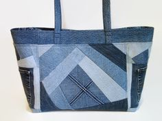 Extra Large Jean Tote Bag Denim Blue Jean by SuzqDunaginDesigns