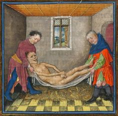 """The Morgan Library & Museum, MS detail of Hours of Catherine of Cleves. Illuminated by the Master of Catherine of Cleves. Utrecht, ca. """"The…corpse is lowered to the floor upon. Medieval Life, Medieval Art, Medieval Manuscript, Illuminated Manuscript, History Of Zombies, Statues, Renaissance, Medieval Paintings, Art Of Love"""